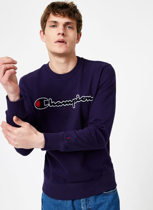 Vêtements Champion Champion Large Script Logo Crewneck Sweatshirt Bleu vue droite