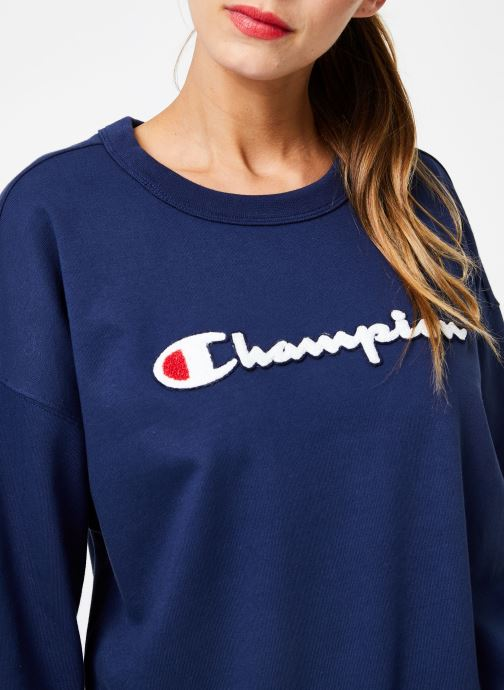 Vêtements Champion Champion Large Script Logo Crewneck Sweatshirt Bleu vue face