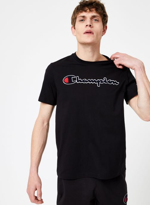 Kleding Champion Champion Large Script Logo Crewneck T-Shirt Zwart rechts