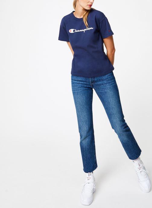 Kleding Champion Champion Large Script Logo Crewneck T-Shirt Blauw onder