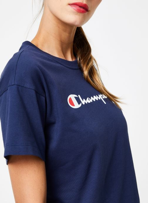 Kleding Champion Champion Large Script Logo Crewneck T-Shirt Blauw voorkant