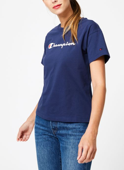 Vêtements Champion Champion Large Script Logo Crewneck T-Shirt Bleu vue droite