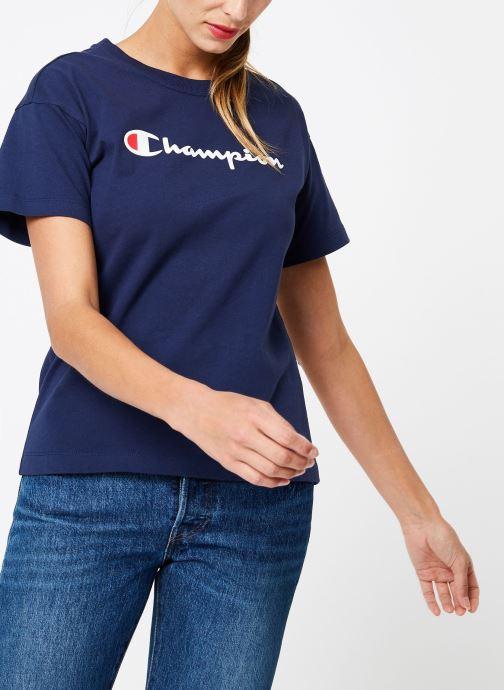 Vêtements Champion Champion Large Script Logo Crewneck T-Shirt Bleu vue détail/paire