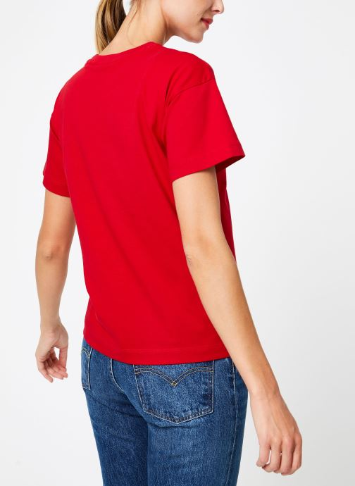 Kleding Champion Champion Large Script Logo Crewneck T-Shirt Rood model
