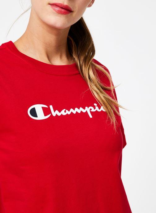 Tøj Champion Champion Large Script Logo Crewneck T-Shirt Rød se forfra