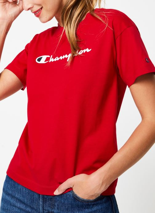 Tøj Champion Champion Large Script Logo Crewneck T-Shirt Rød detaljeret billede af skoene