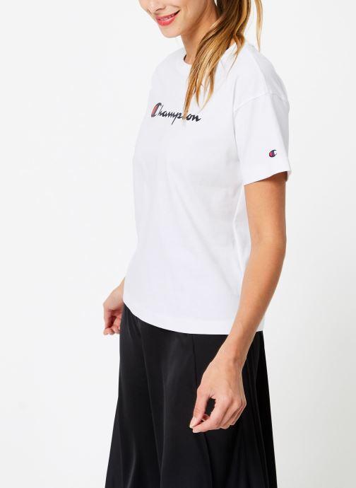 Vêtements Champion Champion Large Script Logo Crewneck T-Shirt Blanc vue droite