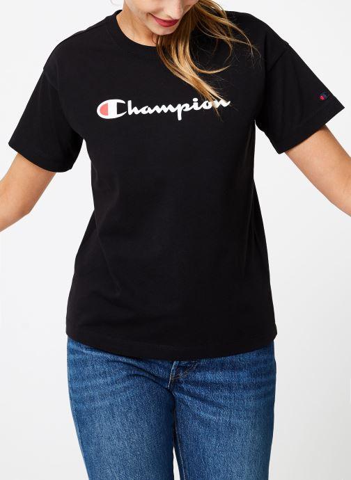 Kleding Champion Champion Large Script Logo Crewneck T-Shirt Zwart detail
