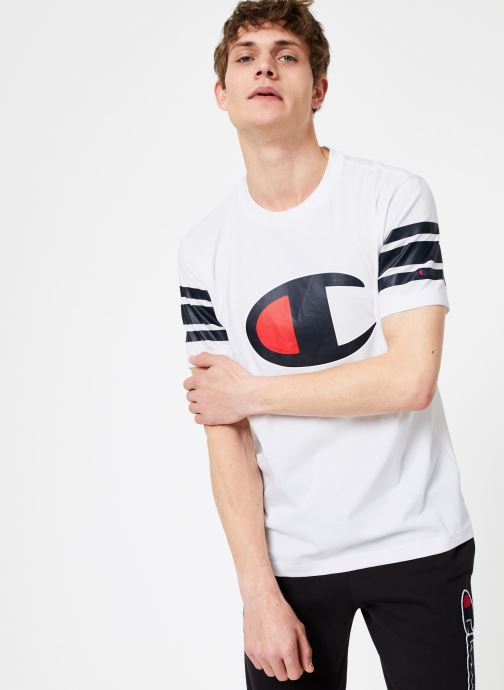 Vêtements Champion Champion Large C-Logo Crewneck T-Shirt with Striped Sleeves Blanc vue droite