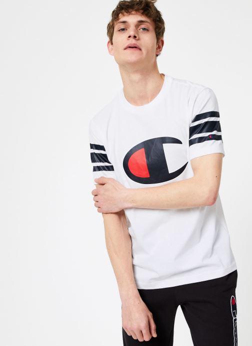 Champion Large C-logo Crewneck T-shirt With Stripe (blanc) - Vêtements(372627)