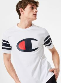 Champion Large C-Logo Crewneck T-Shirt with Striped Sleeves
