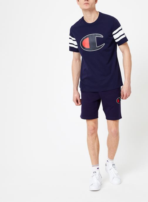 Vêtements Champion Champion Large C-Logo Crewneck T-Shirt with Striped Sleeves Bleu vue bas / vue portée sac