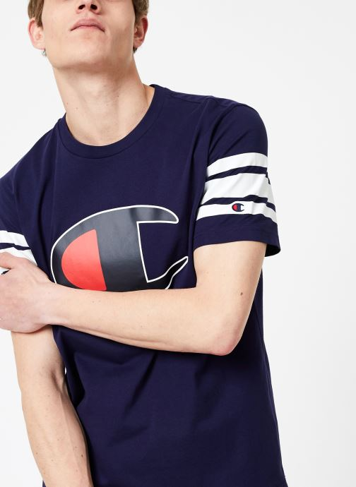 Vêtements Champion Champion Large C-Logo Crewneck T-Shirt with Striped Sleeves Bleu vue détail/paire