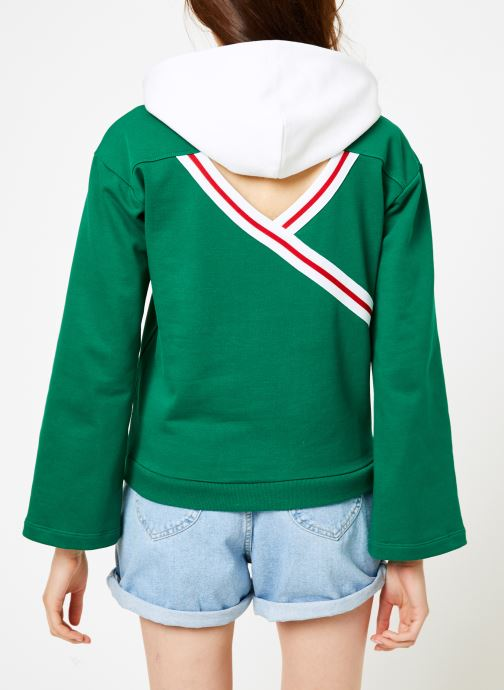 Vêtements Champion Champion Large Script Logo Bi-Colour Hooded Sweatshirt Vert vue portées chaussures