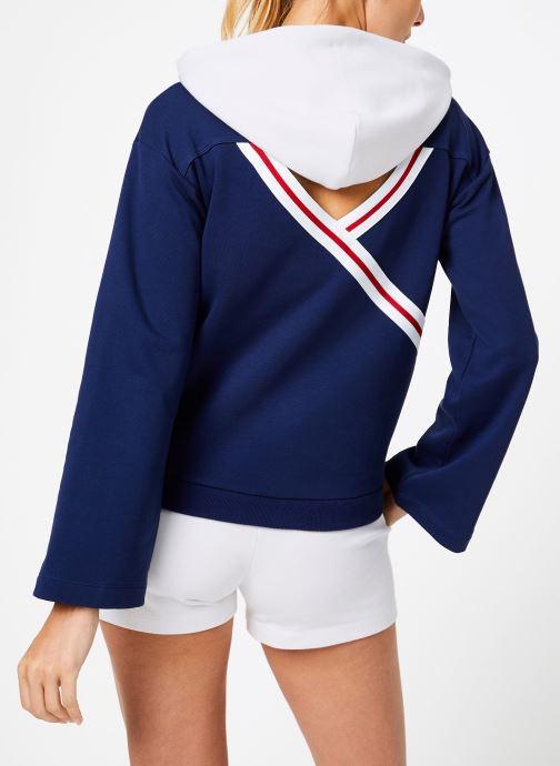 Vêtements Champion Champion Large Script Logo Bi-Colour Hooded Sweatshirt Bleu vue portées chaussures
