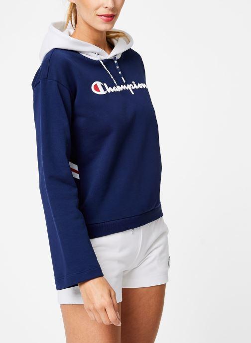 Vêtements Champion Champion Large Script Logo Bi-Colour Hooded Sweatshirt Bleu vue droite