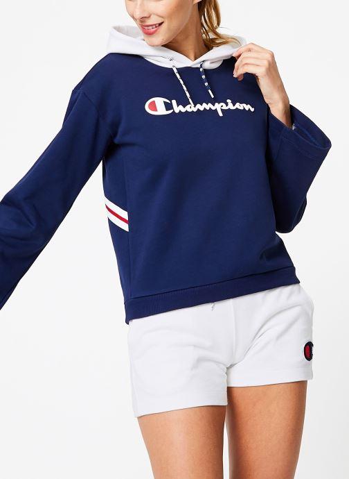 Tøj Champion Champion Large Script Logo Bi-Colour Hooded Sweatshirt Blå detaljeret billede af skoene