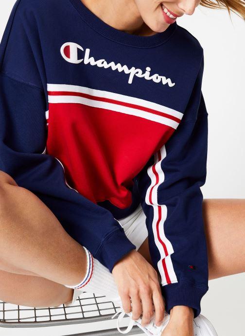 Tøj Champion Champion Large Script Logo Colour Block Crewneck Cropped Sweatshirt Multi detaljeret billede af skoene