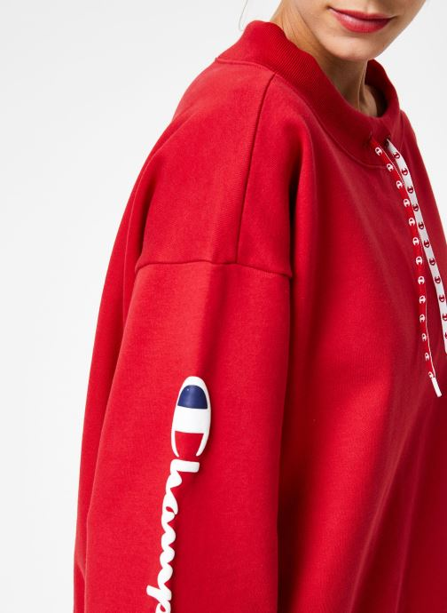 Vêtements Champion Champion Boat Neck Sweatshirt with Sleeve Logo Rouge vue face