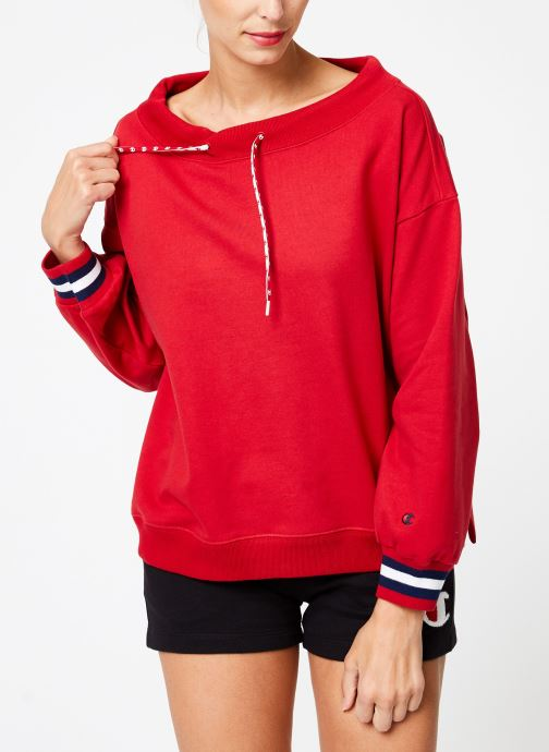 Vêtements Champion Champion Boat Neck Sweatshirt with Sleeve Logo Rouge vue droite