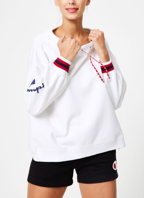 Kleding Champion Champion Boat Neck Sweatshirt with Sleeve Logo Wit rechts