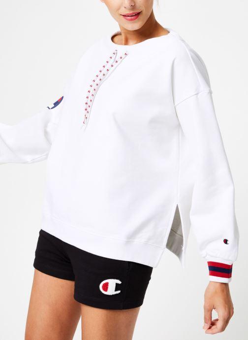 Vêtements Champion Champion Boat Neck Sweatshirt with Sleeve Logo Blanc vue détail/paire
