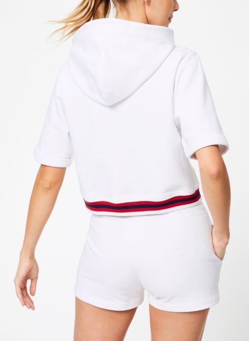 Kleding Champion Champion Large Script Logo Short Sleeve Hooded Sweatshirt Wit model