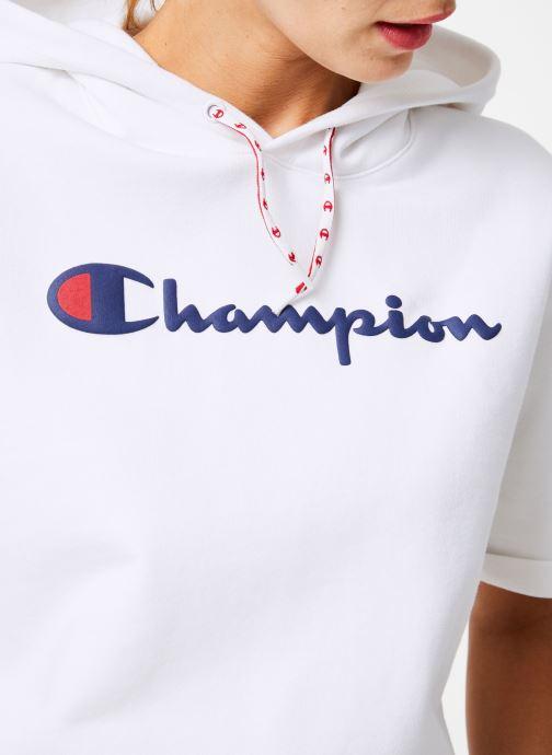 Kleding Champion Champion Large Script Logo Short Sleeve Hooded Sweatshirt Wit voorkant