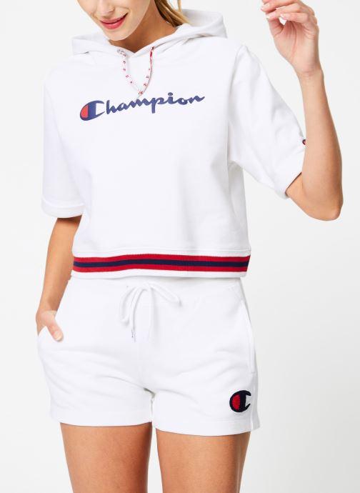 Kleding Champion Champion Large Script Logo Short Sleeve Hooded Sweatshirt Wit rechts