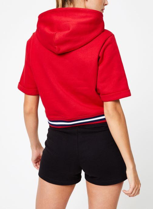 Vêtements Champion Champion Large Script Logo Short Sleeve Hooded Sweatshirt Rouge vue portées chaussures