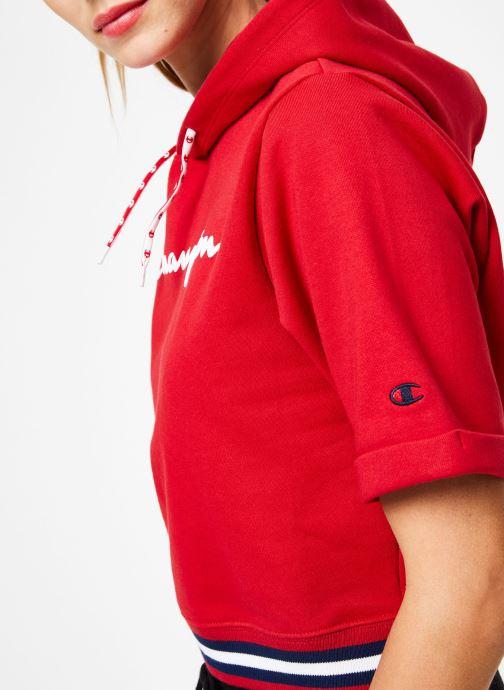 Vêtements Champion Champion Large Script Logo Short Sleeve Hooded Sweatshirt Rouge vue face