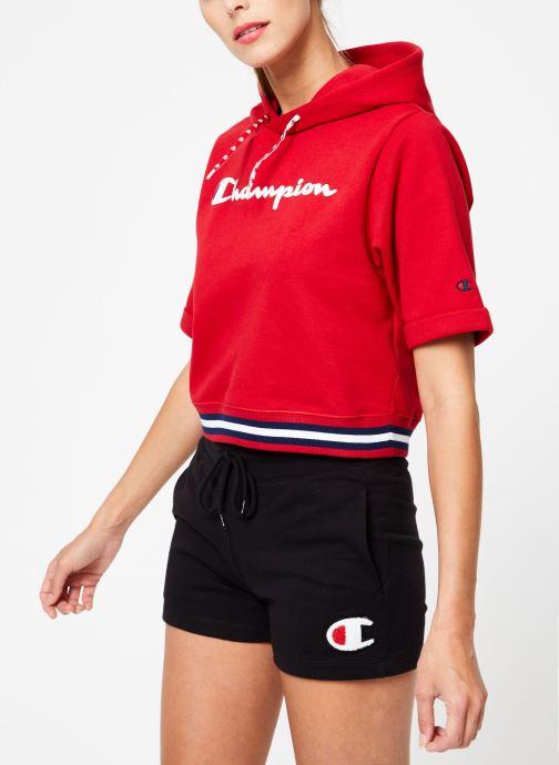 Vêtements Champion Champion Large Script Logo Short Sleeve Hooded Sweatshirt Rouge vue droite