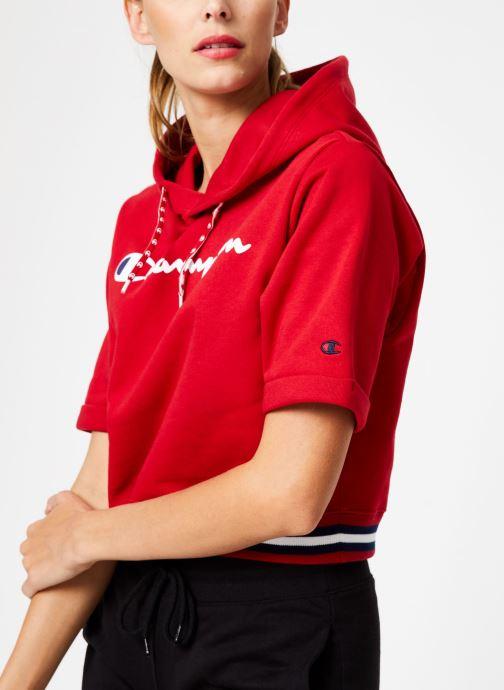 Vêtements Champion Champion Large Script Logo Short Sleeve Hooded Sweatshirt Rouge vue détail/paire