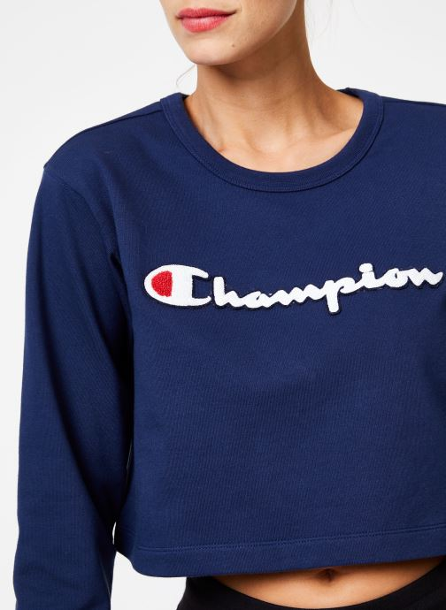 Tøj Champion Champion Large Script Logo Cropped Crewneck Top Blå se forfra