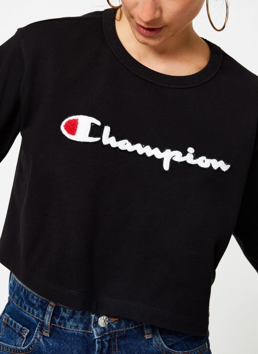 Vêtements Champion Champion Large Script Logo Cropped Crewneck Top Noir vue face