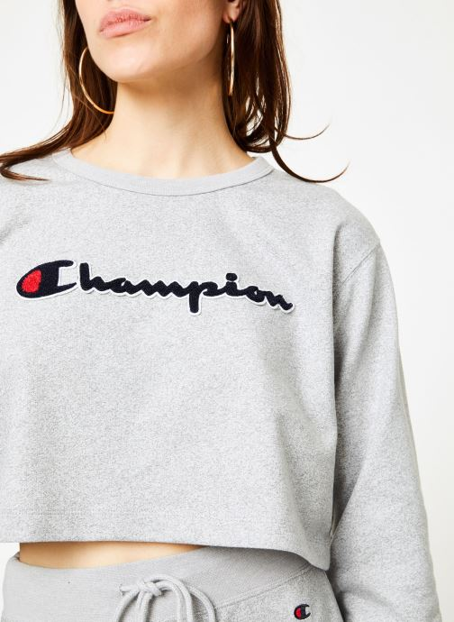 Kleding Champion Champion Large Script Logo Cropped Crewneck Top Grijs voorkant