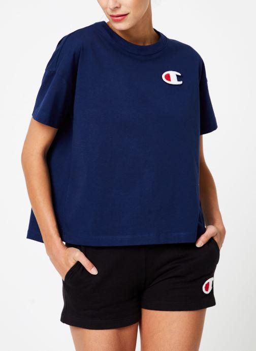 Vêtements Champion Champion C-Logo Crewneck T-Shirt Bleu vue droite