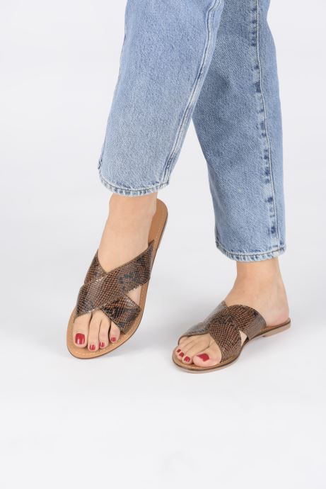 Mules & clogs I Love Shoes KISUN LEATHER Brown view from underneath / model view