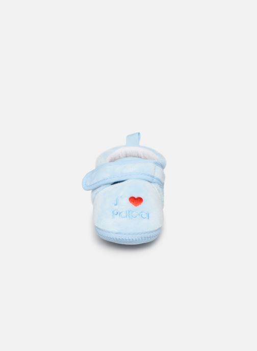 Slippers Sarenza Wear Chaussons bébé scratchs Blue model view