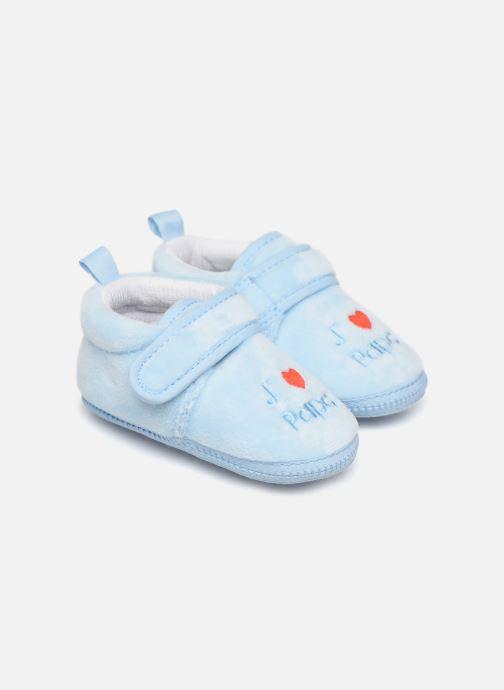 Slippers Sarenza Wear Chaussons bébé scratchs Blue detailed view/ Pair view