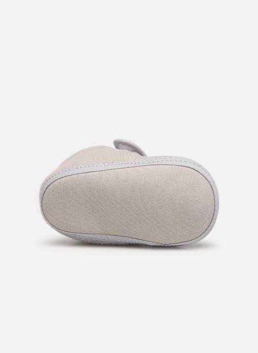 Slippers Sarenza Wear Chaussons bébé scratchs Grey view from above