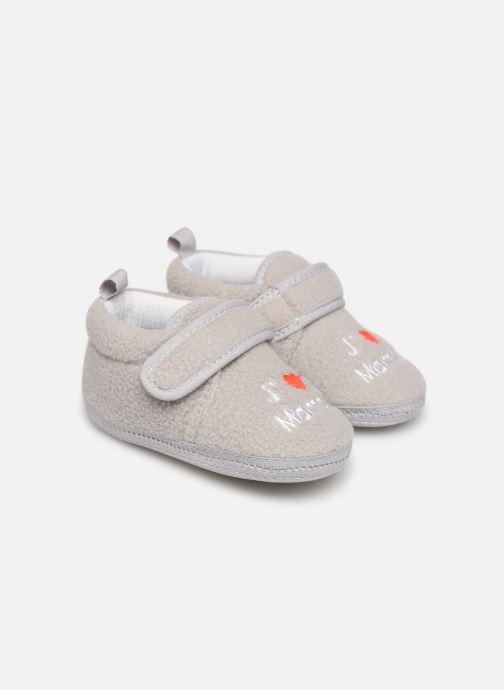 Slippers Sarenza Wear Chaussons bébé scratchs Grey detailed view/ Pair view