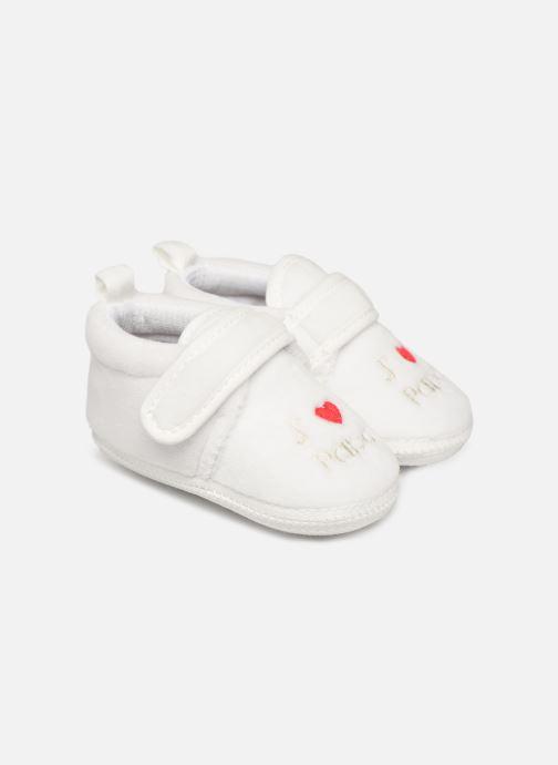 Pantoffels Sarenza Wear Chaussons bébé scratchs Wit detail