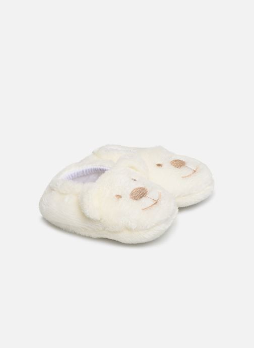 Slippers Sarenza Wear Chaussons bébé animal White detailed view/ Pair view