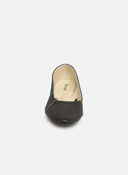 Ballerines Isotoner Escarpin détails doré Noir vue portées chaussures