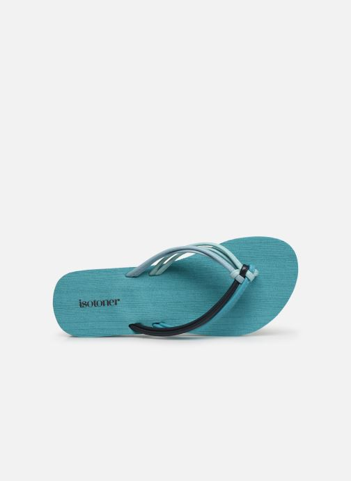 Flip flops Isotoner Tong yoga mutlti-brides Blue view from the left