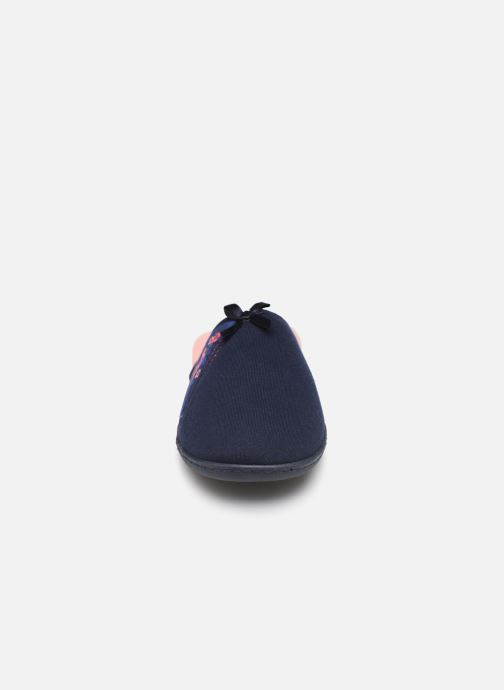 Hausschuhe Isotoner Mule jersey semelle ergonomique blau schuhe getragen