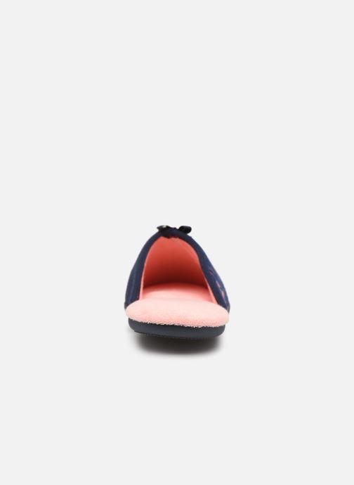 Pantuflas Isotoner Mule jersey semelle ergonomique Azul vista lateral derecha