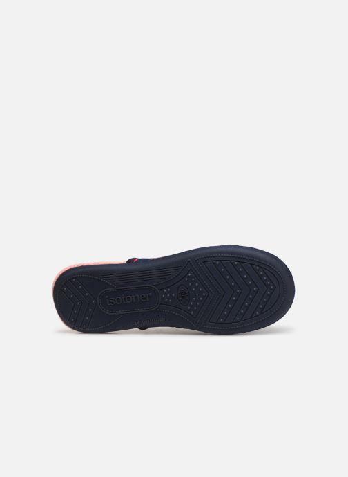 Pantuflas Isotoner Mule jersey semelle ergonomique Azul vista de arriba