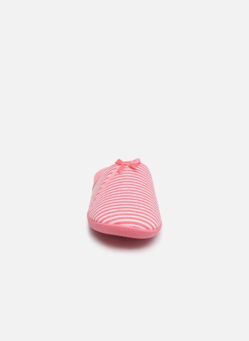 Chaussons Isotoner Mule jersey semelle ergonomique Rose vue portées chaussures